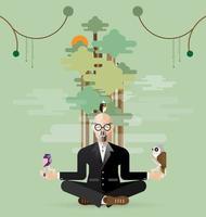 viejo empresario haciendo yoga en la naturaleza vector
