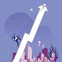 Businessman climbing rising arrow. Success concept vector