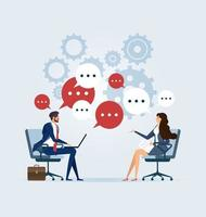 Business meeting with speech bubbles vector