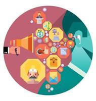 hombre de negocios envió información. vector de concepto de comunicación empresarial.