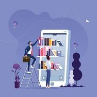 Online reading. Businessman taking books from bookshelf on smartphone screen. Mobile library concept vector