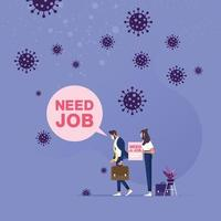 Unemployment from Coronavirus crisis. COVID 19 outbreak lockdown concept vector