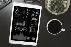 gráficos de negocios y tablas de tabletas, analizar estados financieros. marketing y ganancias y pérdidas en el plan de negocios. vista superior foto