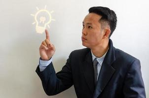 Side portrait of businessman pointing to a light bulb. Positive thinking or positivity for creative ideas. Business process concept. photo