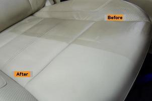 antes y después del servicio de limpieza de asientos de cuero. foto