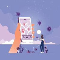 Coronavirus tracking apps concept vector