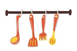 Utensilios de cocina y restaurante espátula, batidor, colador, cuchara. vector de dibujos animados set cubiertos de cocina colgando.