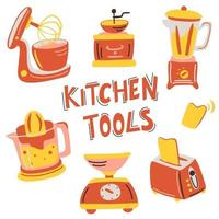 Hand drawn Kitchen appliance set. Vector illustration Equipment, item for cooking. Coffee maker machine, mixer, hood, scales, blender, toaster, juicer.