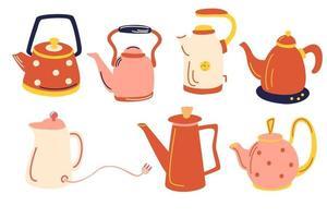 Vector tea collection of vintage tableware. Kitchen elements.