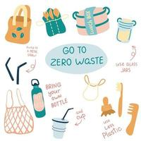 conjunto de ilustraciones de vectores de desperdicio cero. artículos o productos duraderos y reutilizables: frascos de vidrio, bolsas de supermercado ecológicas, cepillo de dientes de bambú, taza reutilizable, lonchera.