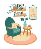 Living room interior. Armchair, coffee table, shelf with books and plants in pots, pictures in frames. Cozy home. vector