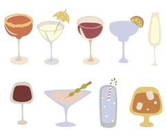 Alcohol drinks icon kit. Cartoon cocktails vector set. Beverages and party concept.