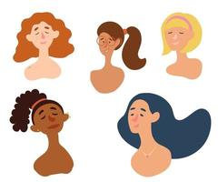 Female diverse faces. Freckles, Piercing, red hair, glasses, blonde, international. Collection of multiethnic female profile. vector