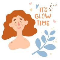 Cute red-haired girl with freckles and the inscription It's glow time. Body positive, self-love, unusual appearance. vector