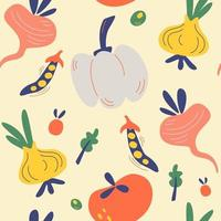 Seamless pattern with vegetables. Vegetarian healthy food vector texture. Vegan, farm, organic, detox.