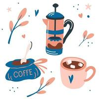 Vector set with coffee drinks. French press, a cup of marshmallow coffee and a bag of coffee.