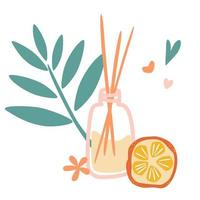set de aromaterapia. Varitas aromáticas de madera en frasco de vidrio con olor a naranja. fragancia de aire esencial se pega aromaterapia. vector