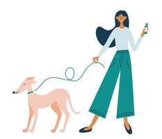 Young cheerful girl on a walk with her dog. Walk with your beloved pet. vector