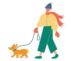 chico joven con ropa de invierno elegante camina con un perro. mejores amigos humanos. vector