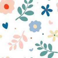 verano naturaleza motivo de patrones sin fisuras. margarita, ramitas, pétalos y hojas. Fondo de flores de prado. vector