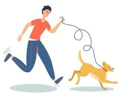 Happy young man running with dog outdoors. Human best friends. Healthy lifestyle. Domestic animal. vector