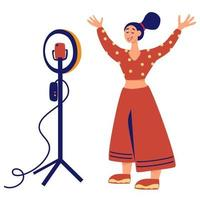 Girl in front circular light line vector illustration. Recording new Video Blogger Important Process. Internet blogger, profession or hobby.