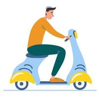 Cartoon teenager driving scooter. Side view of young male with motorcycle. vector