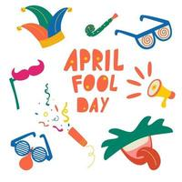 April fools day vector elements set. Jester hat, cracker, funny glasses, noses, moustaches, mouth with tongue icon over white background.