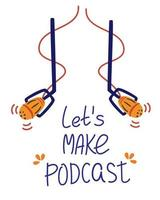 Two microphones are hanging. Online training, podcast, radio. Podcast concept illustration. vector