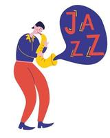 Young guy plays the saxophone jazz music. Talented musician performance. Saxophone player cartoon character. vector