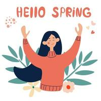 Happy young girl rejoices in spring. Hello spring concept in vector. vector