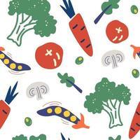 Seamless pattern with hand drawn vegetables. Vegetarian healthy food vector texture. Vegan, farm, organic, detox.