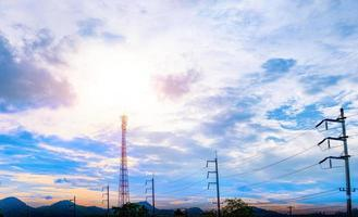 Antenna tower on a blue sky background photo