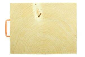 Encimera de bloque de carnicero de madera de tamarindo sobre un fondo blanco. foto