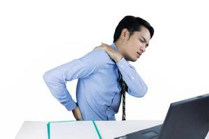 Man with back pain white background photo