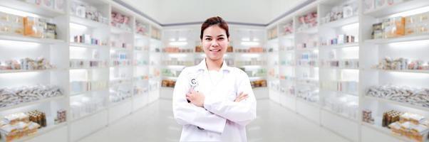 Pharmacist with pharmacy background photo
