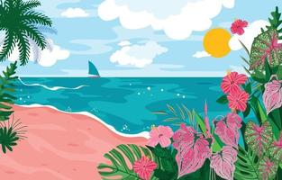 Beautiful Sea View in Summer Background vector