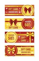 Red Gold Gift Vouchers Collection vector