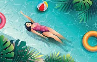 niña disfrutando de las vacaciones de verano en la piscina vector