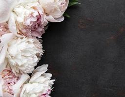 Peony flowers on a black concrete background photo