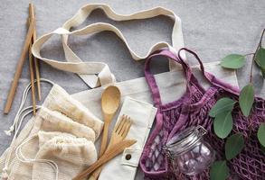 Mesh bag cotton bags and glass jars photo