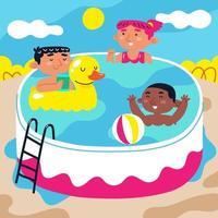 niños nadando en una piscina inflable vector