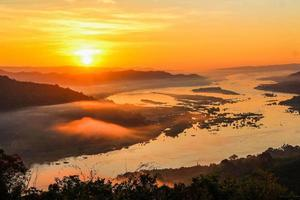 Morning sunlight at the Mekong River, Sangkhom District, Thailand photo