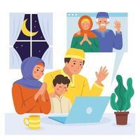Ramadan Family Gathering Through Video Call vector