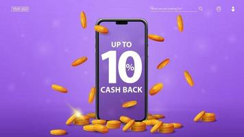 Purple cashback banner with smartphone with offer on screen gold coins around and gold coins falling from the top vector