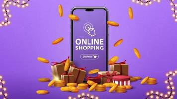 Online shopping purple banner with a large smartphone with presents boxes gold coins around and gold coins falling from the top vector