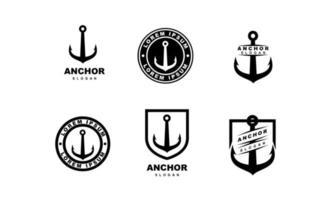 set collection simple black anchor vector logo icon illustration  design