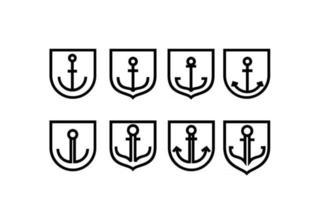 set collection anchor line vector logo icon illustration design