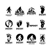 set collection Big foot yeti vector black logo icon illustration  design