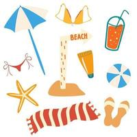 Set of summer items and beach objects. Beach accessories, umbrella, flip flops, towel, swimsuit, cocktail, ball, starfish, sign beach. vector